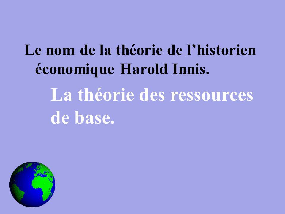 Le nom de la théorie de l'historien économique Harold Innis. La théorie des ressources de base.
