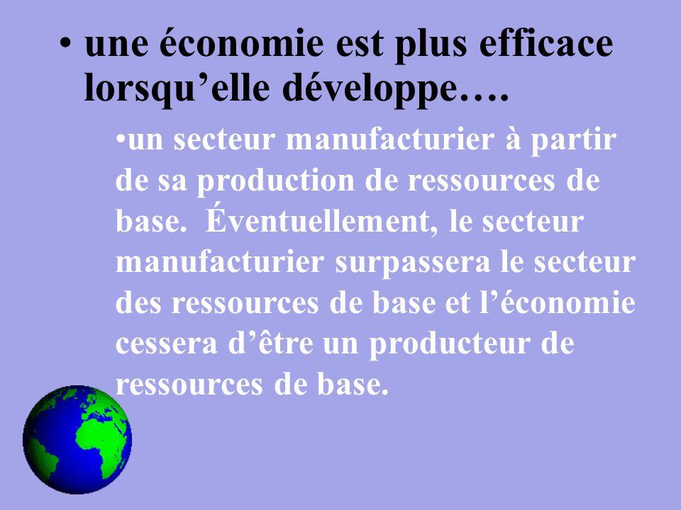 une économie est plus efficace lorsqu'elle développe….