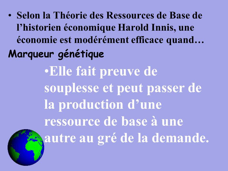 Selon la Théorie des Ressources de Base de l'historien économique Harold Innis, une économie est modérément efficace quand… Marqueur génétique Elle fait preuve de souplesse et peut passer de la production d'une ressource de base à une autre au gré de la demande.