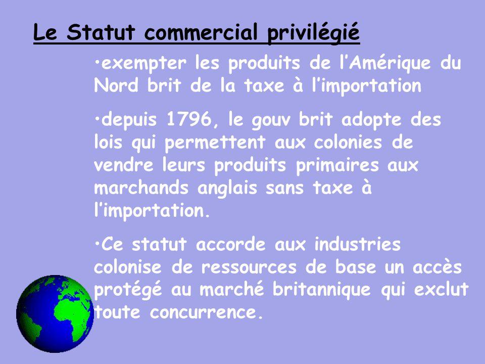 Le Statut commercial privilégié exempter les produits de l'Amérique du Nord brit de la taxe à l'importation depuis 1796, le gouv brit adopte des lois qui permettent aux colonies de vendre leurs produits primaires aux marchands anglais sans taxe à l'importation.