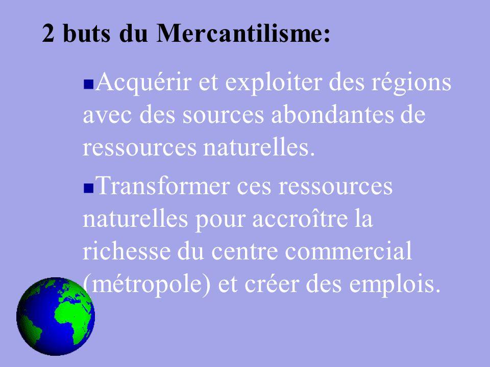 2 buts du Mercantilisme: Acquérir et exploiter des régions avec des sources abondantes de ressources naturelles.