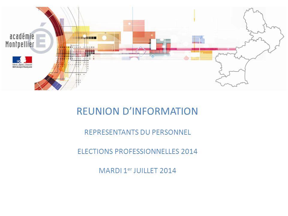 REUNION D'INFORMATION REPRESENTANTS DU PERSONNEL ELECTIONS PROFESSIONNELLES 2014 MARDI 1 er JUILLET 2014