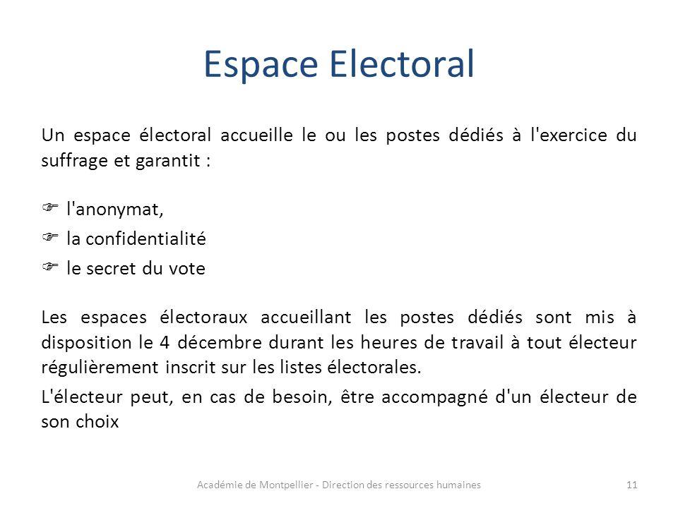 Espace Electoral Un espace électoral accueille le ou les postes dédiés à l'exercice du suffrage et garantit :  l'anonymat,  la confidentialité  le