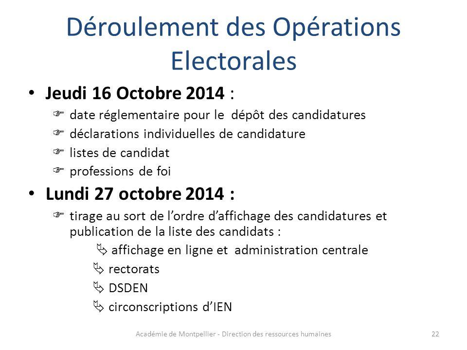 Déroulement des Opérations Electorales Jeudi 16 Octobre 2014 :  date réglementaire pour le dépôt des candidatures  déclarations individuelles de can