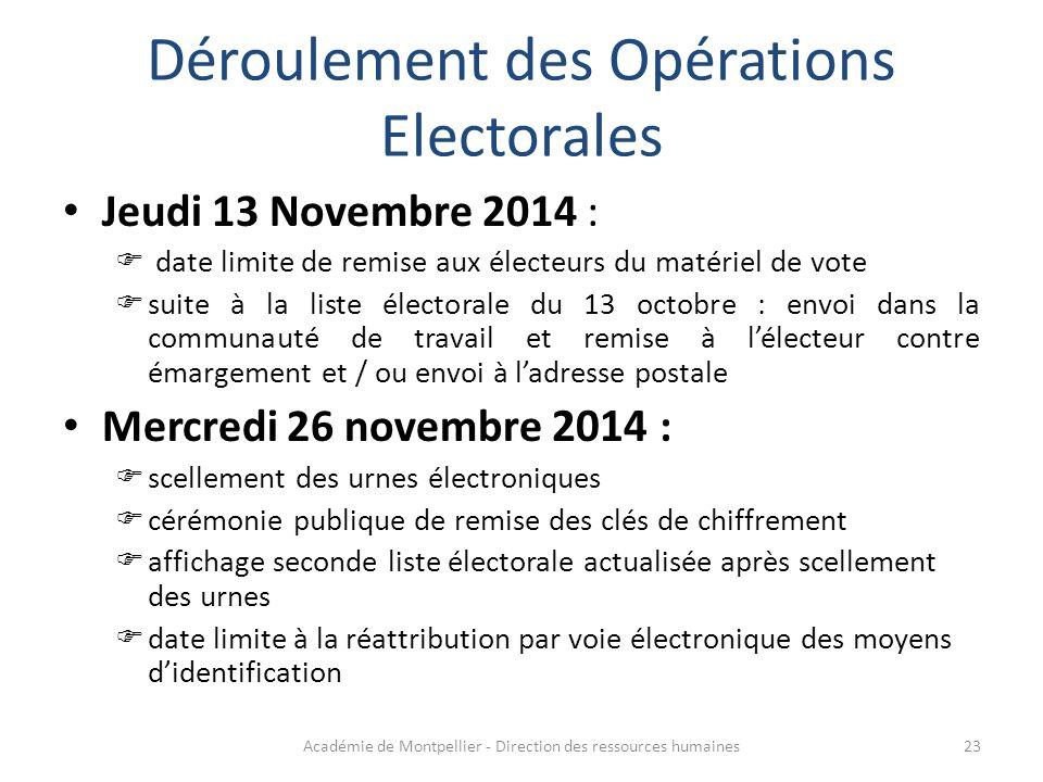 Déroulement des Opérations Electorales Jeudi 13 Novembre 2014 :  date limite de remise aux électeurs du matériel de vote  suite à la liste électoral