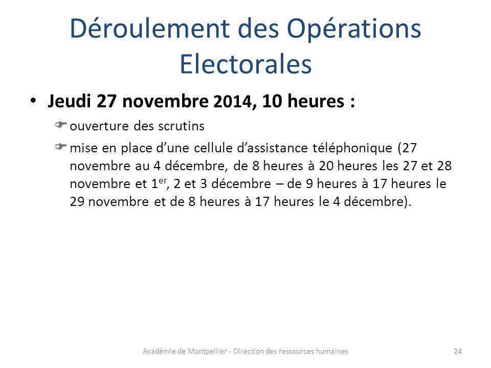 Déroulement des Opérations Electorales Jeudi 27 novembre 2014, 10 heures :  ouverture des scrutins  mise en place d'une cellule d'assistance télépho