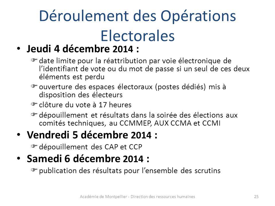 Déroulement des Opérations Electorales Jeudi 4 décembre 2014 :  date limite pour la réattribution par voie électronique de l'identifiant de vote ou d