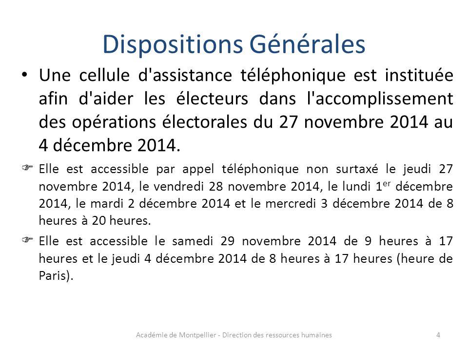 Une cellule d'assistance téléphonique est instituée afin d'aider les électeurs dans l'accomplissement des opérations électorales du 27 novembre 2014 a