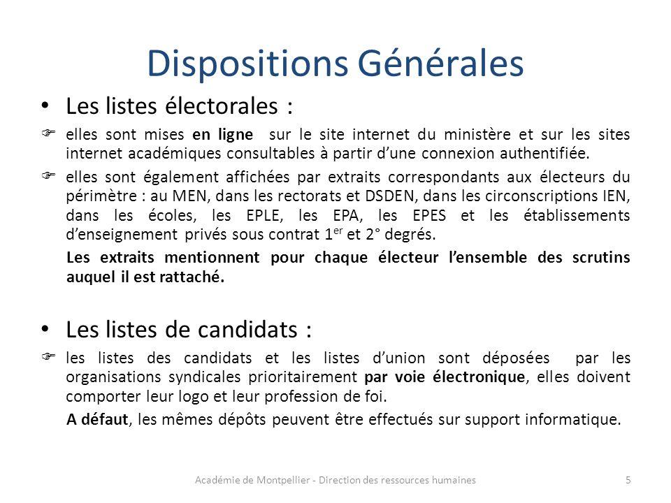Les listes électorales :  elles sont mises en ligne sur le site internet du ministère et sur les sites internet académiques consultables à partir d'u