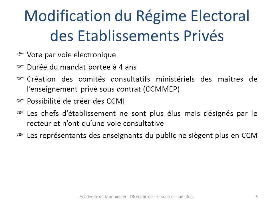 Modification du Régime Electoral des Etablissements Privés  Vote par voie électronique  Durée du mandat portée à 4 ans  Création des comités consul