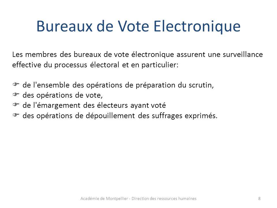 Les membres des bureaux de vote électronique assurent une surveillance effective du processus électoral et en particulier:  de l'ensemble des opérati