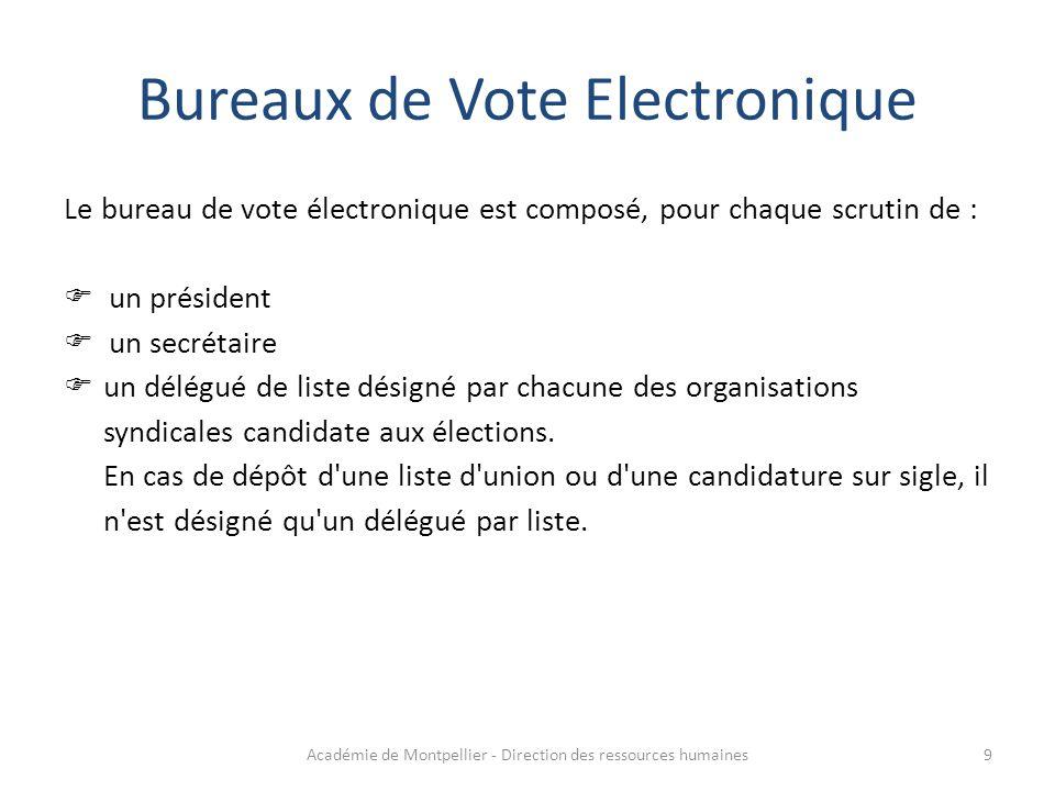 Le bureau de vote électronique est composé, pour chaque scrutin de :  un président  un secrétaire  un délégué de liste désigné par chacune des orga