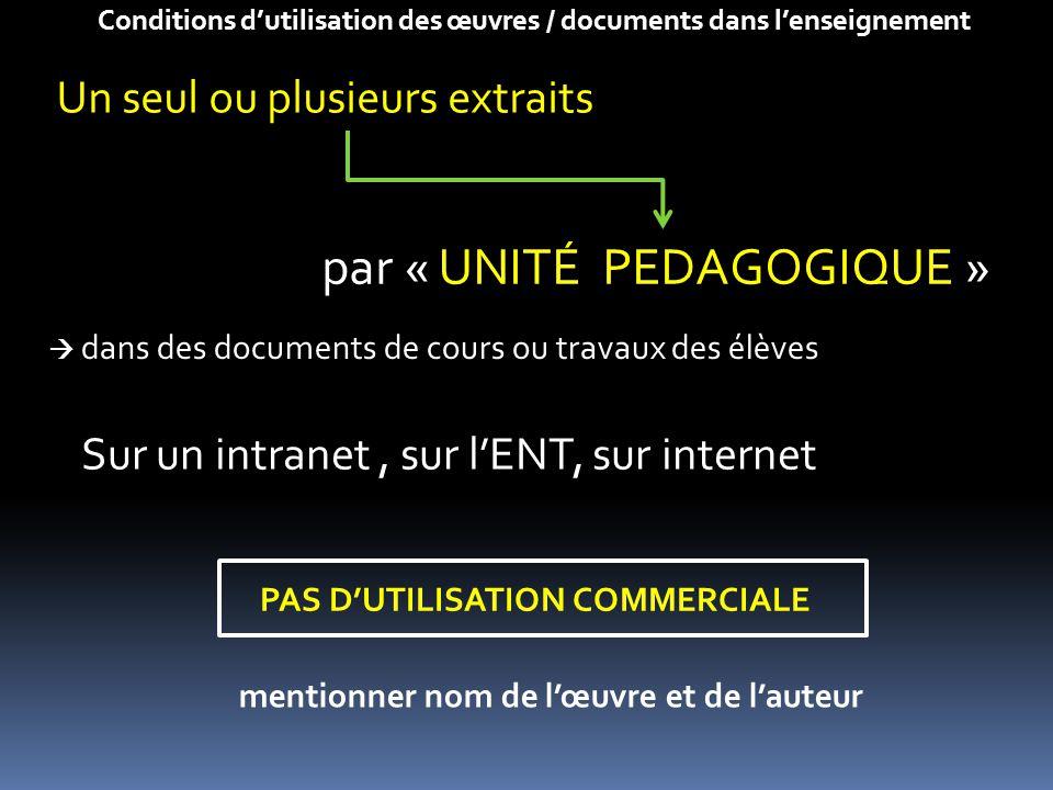 par « UNITÉ PEDAGOGIQUE » Conditions d'utilisation des œuvres / documents dans l'enseignement Un seul ou plusieurs extraits  dans des documents de co