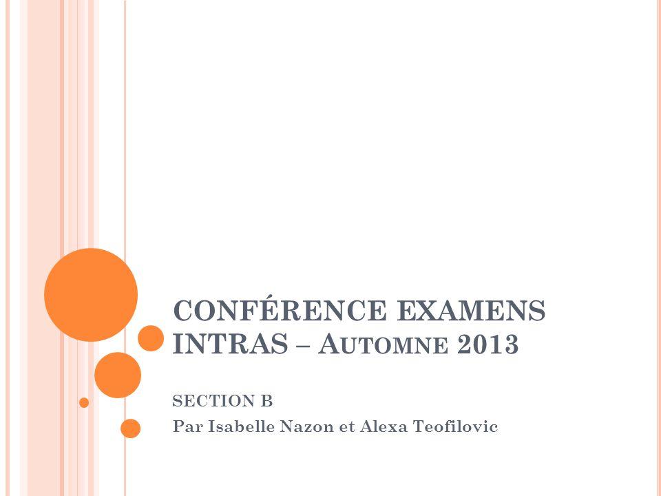CONFÉRENCE EXAMENS INTRAS – A UTOMNE 2013 SECTION B Par Isabelle Nazon et Alexa Teofilovic
