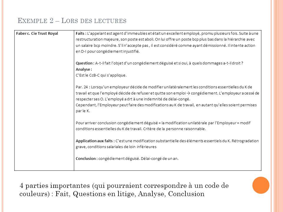 E XEMPLE 2 – L ORS DES LECTURES Faber c.
