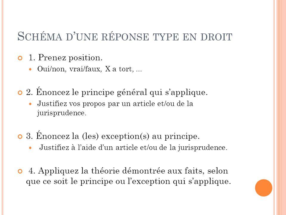 S CHÉMA D ' UNE RÉPONSE TYPE EN DROIT 1. Prenez position.