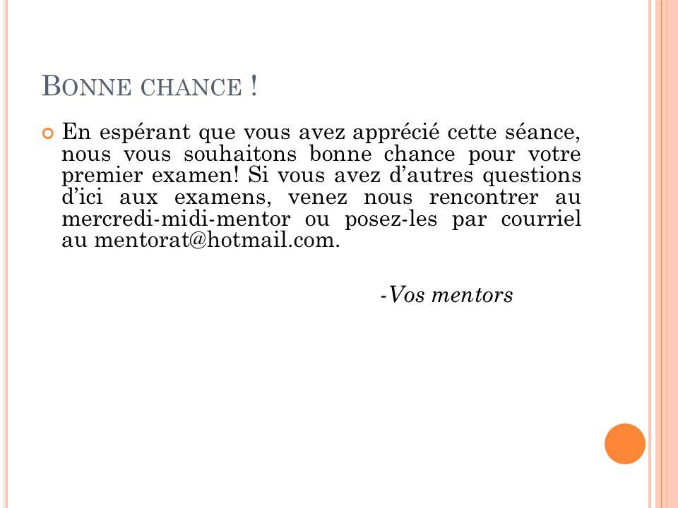 B ONNE CHANCE .