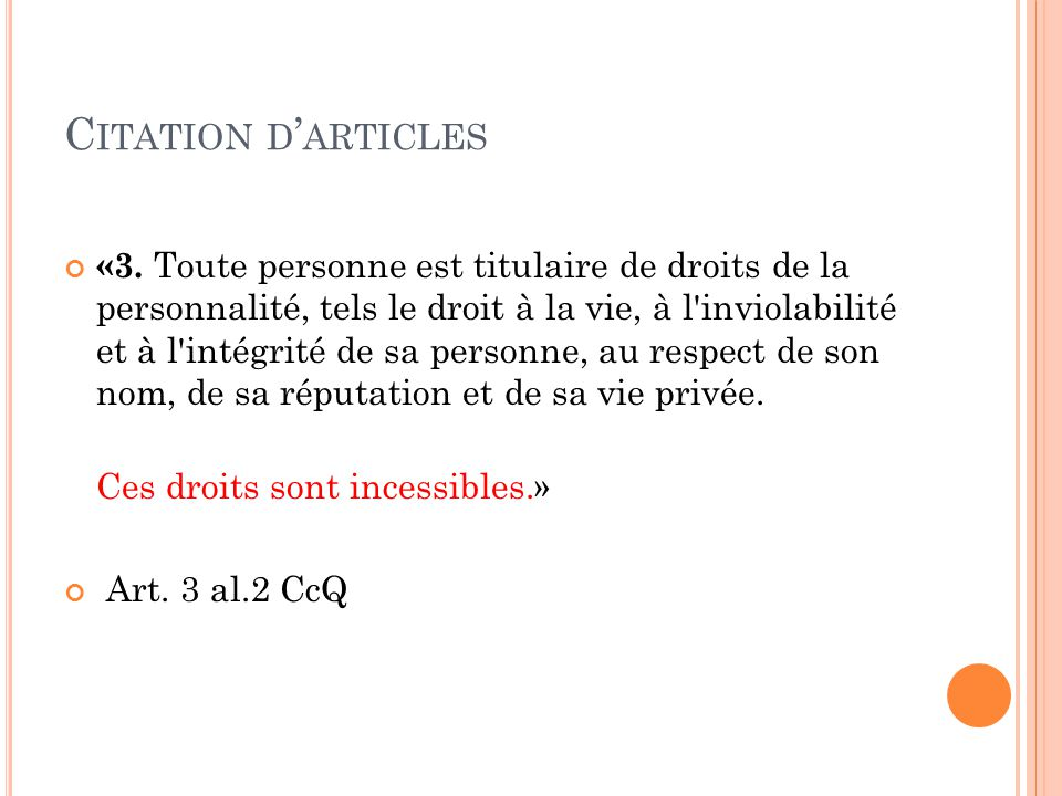 C ITATION D ' ARTICLES «3.