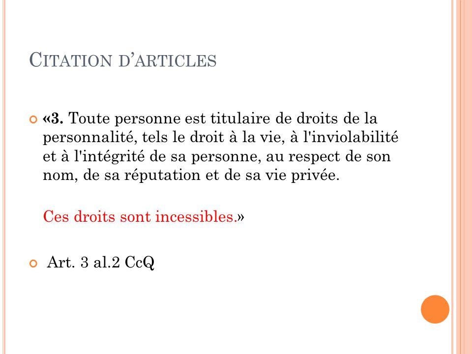 C ITATION D ' ARTICLES – S UITE «22.