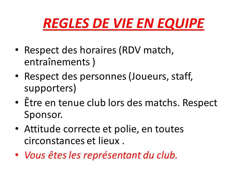 REGLES DE VIE EN EQUIPE Respect des horaires (RDV match, entraînements ) Respect des personnes (Joueurs, staff, supporters) Être en tenue club lors des matchs.