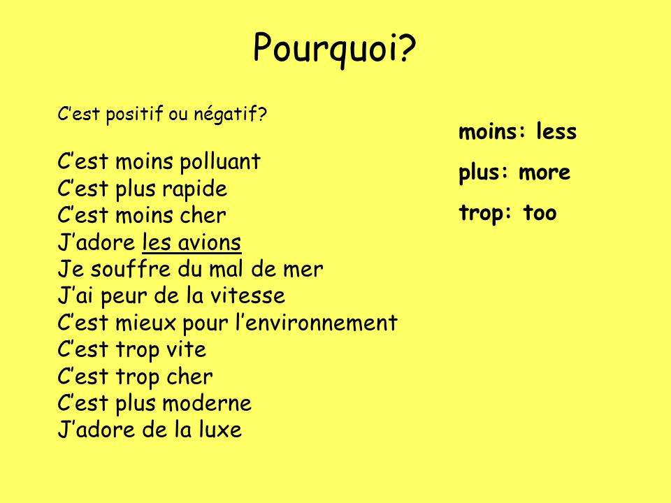 PositifNégatif C'est moins polluant (It causes less pollution) C'est plus rapide (It's faster) C'est moins cher (It's cheaper) J'adore les avions (I love aeroplanes) C'est mieux pour l'environnement (It's better for the environment) C'est plus moderne (It's more modern) J'adore de la luxe( I love luxury) Je souffre du mal de mer (I suffer from sea-sickness) J'ai peur de la vitesse (I'm scared of speed) C'est trop vite (It's too fast) C'est trop cher (It's too expensive)