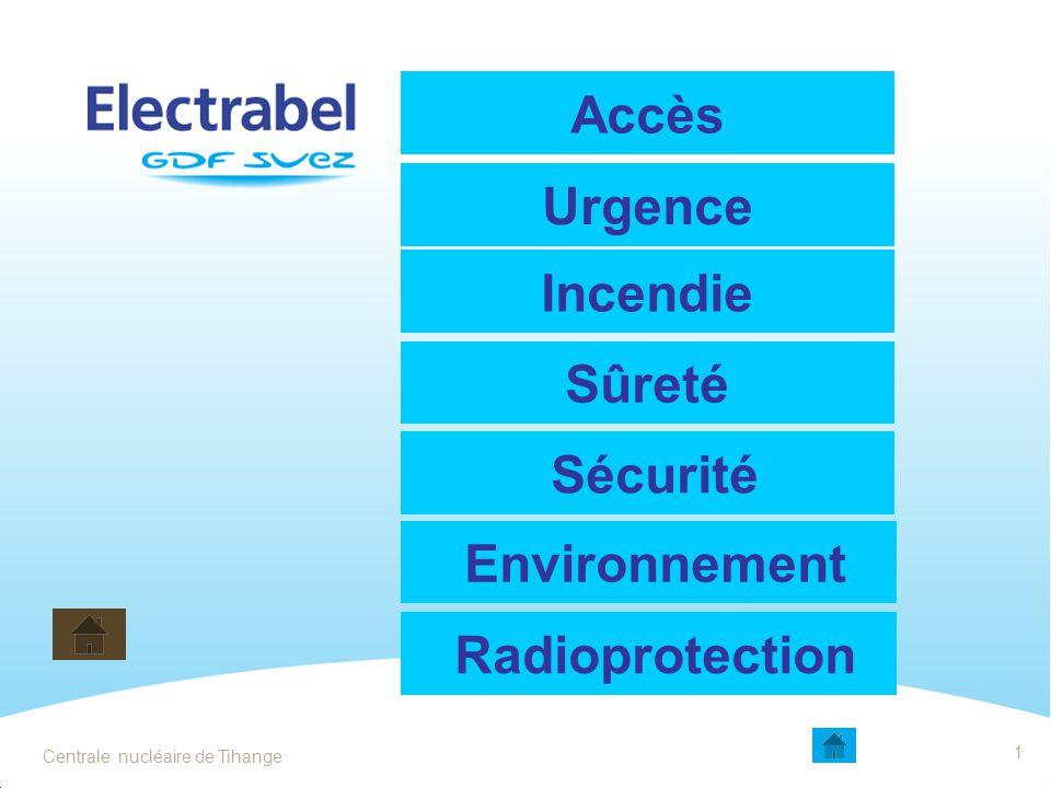 Accès Urgence Incendie Sûreté Sécurité Environnement Radioprotection 1 Centrale nucléaire de Tihange