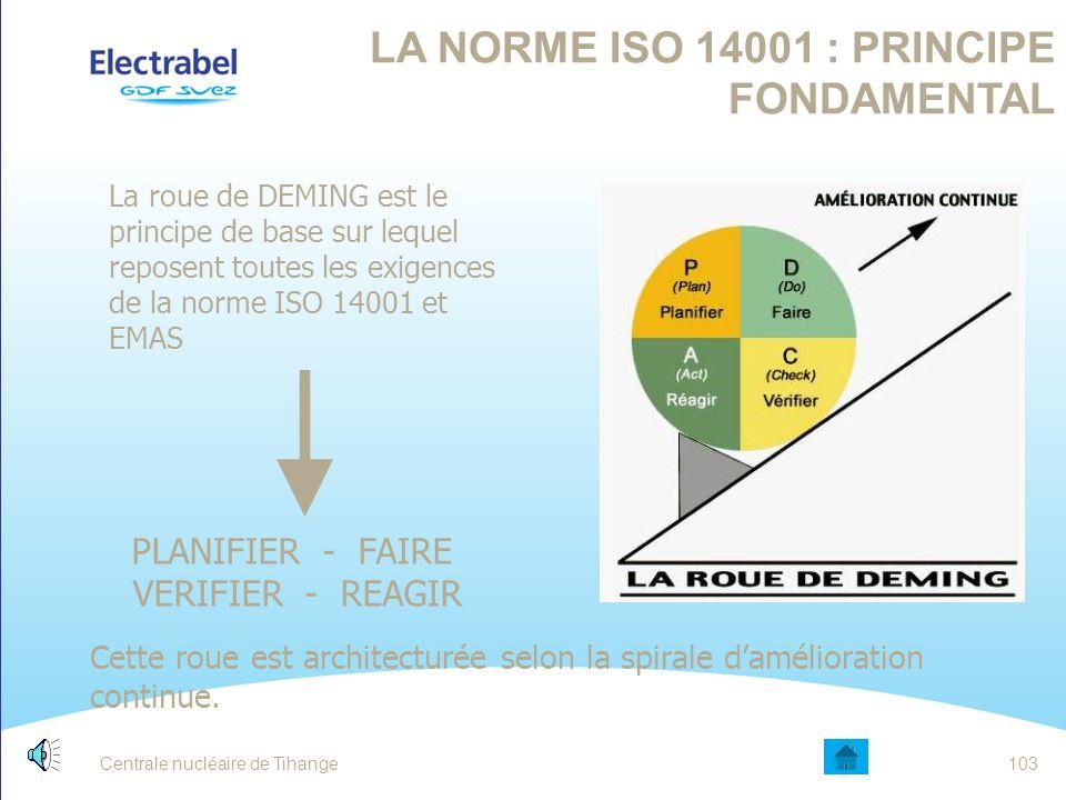 Centrale nucléaire de Tihange102 LES OUTILS INTERNES DE GESTION ENVIRONNEMENTALE La norme ISO 14001 et le règlement EMAS Prescrivent les exigences rel