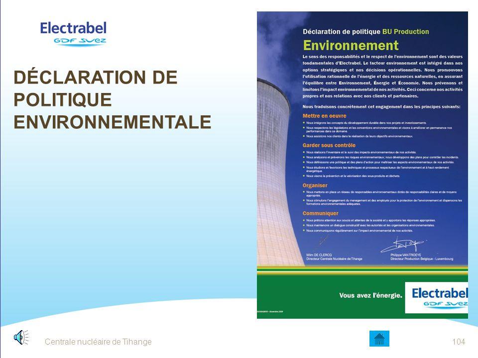 Centrale nucléaire de Tihange103 LA NORME ISO 14001 : PRINCIPE FONDAMENTAL Cette roue est architecturée selon la spirale d'amélioration continue. La r