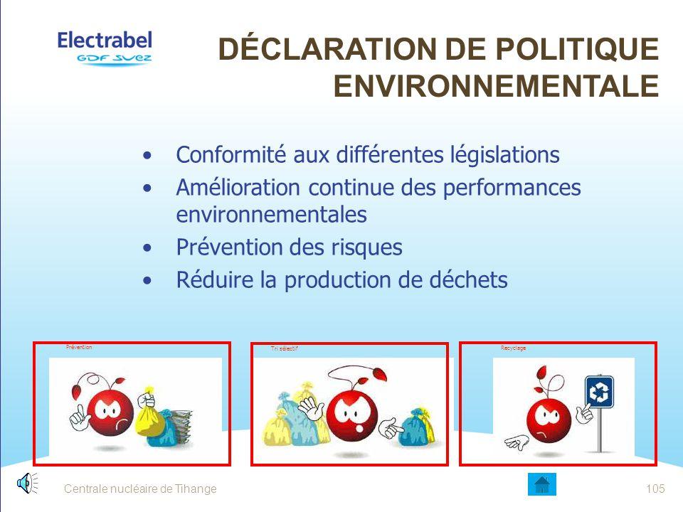 Centrale nucléaire de Tihange104 DÉCLARATION DE POLITIQUE ENVIRONNEMENTALE
