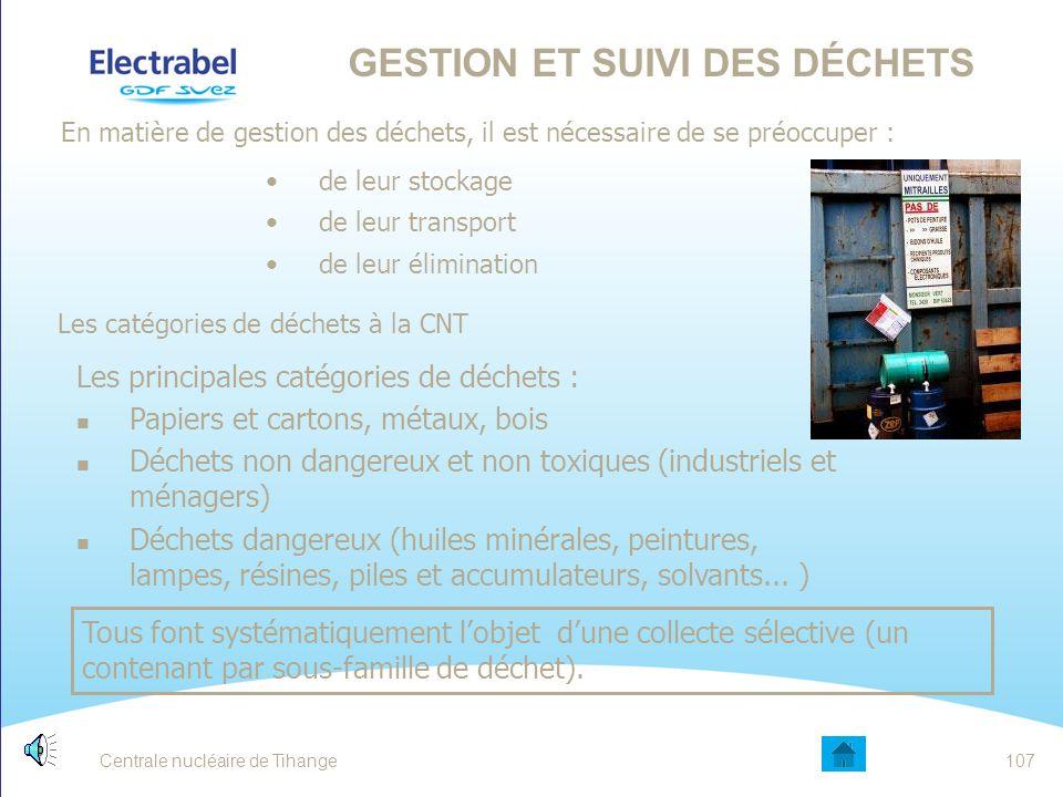 Centrale nucléaire de Tihange106 LES OBJECTIFS ENVIRONNEMENTAUX DE LA CNT 1.Maintenir au minimum ALARA les rejets et déchets radioactifs 2.Réduire l'i