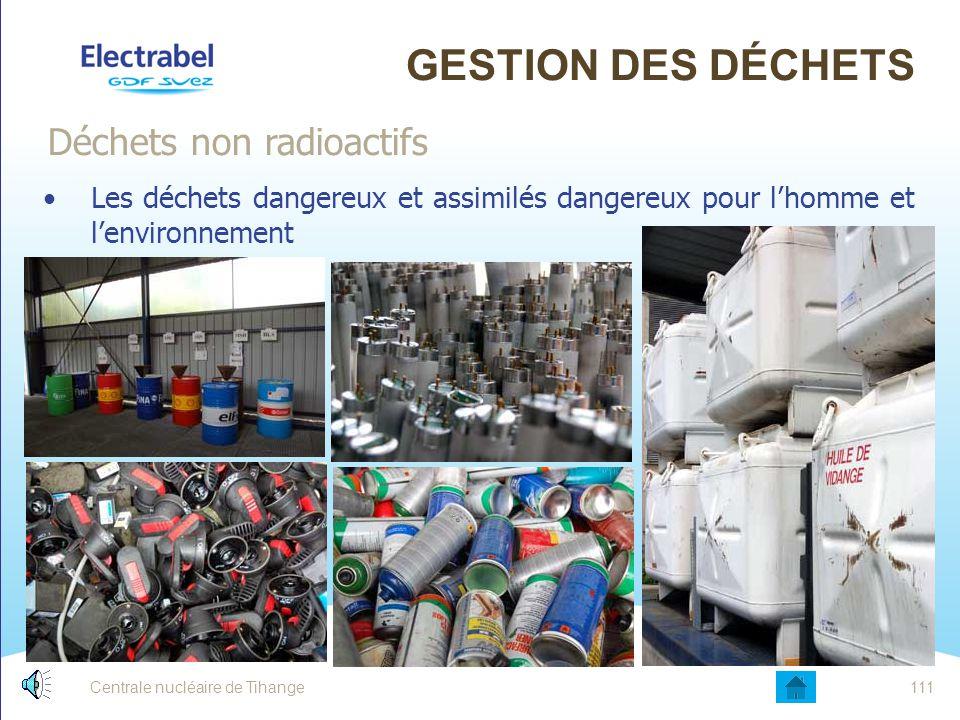 Centrale nucléaire de Tihange110 GESTION DES DÉCHETS Les déchets non dangereux ou assimilés ménagers : Déchets non radioactifs