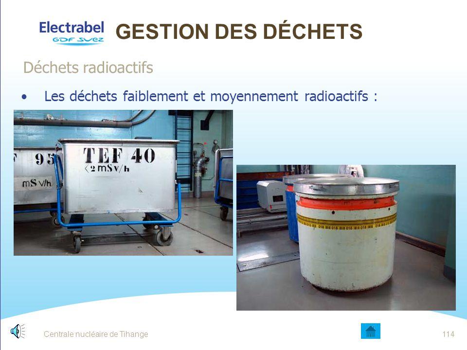 Centrale nucléaire de Tihange113 GESTION DES DÉCHETS Seulement 100 m³ en moyenne par année pour l'ensemble du site Déchets radioactifs Radioactif Rayonnement supérieur à la radioactivité naturelle