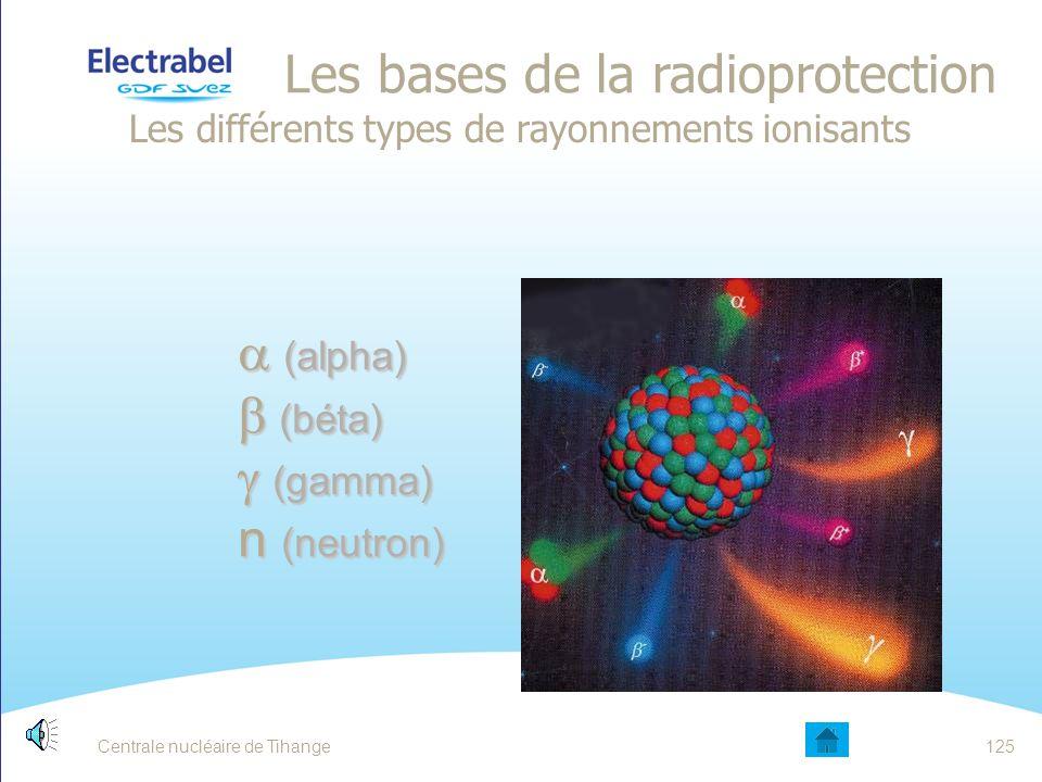 Centrale nucléaire de Tihange 124124124 LES BASES DE LA RADIOPROTECTION La radioactivité naturelle et la radioactivité artificielle 124