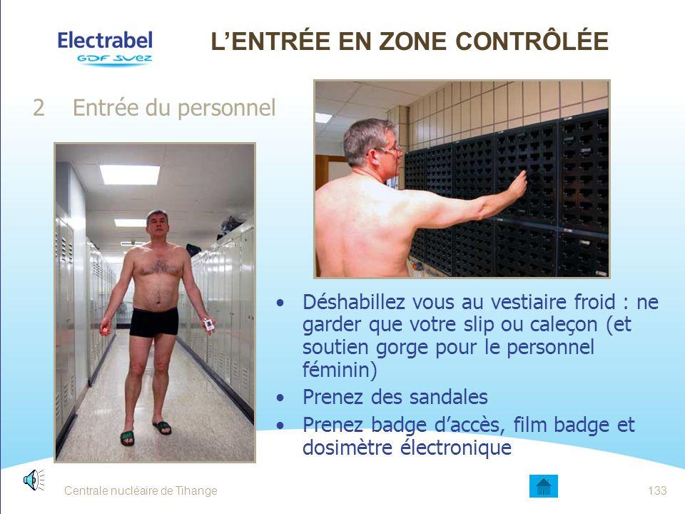 Centrale nucléaire de Tihange132 L'ENTRÉE EN ZONE CONTRÔLÉE 1Introduction du matériel par l'atelier Prévenir un agent SRP Pas de matériel superflu Éli