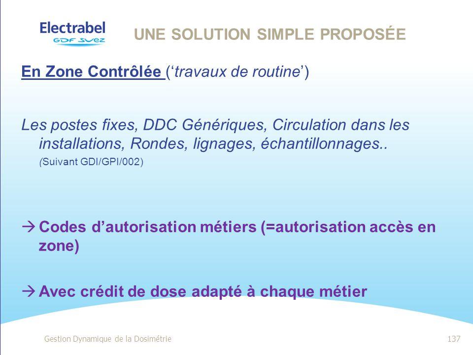 UN PRINCIPE SIMPLE Gestion Dynamique de la Dosimétrie136 Toute exposition aux radiations ionisantes doit être : Justifiée Optimisée en matière de prév