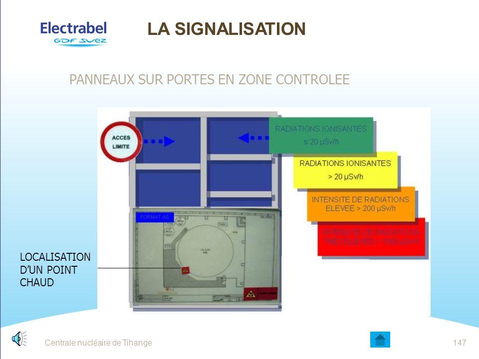 Centrale nucléaire de Tihange LA SIGNALISATION BANDES PLASTIFIEES DE COULEUR dans un lieu de passages fréquents, afin d'éviter une dose collective tro