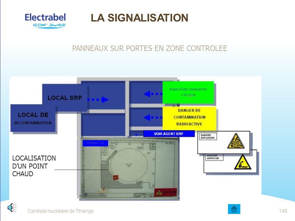 Centrale nucléaire de Tihange147 LA SIGNALISATION PANNEAUX SUR PORTES EN ZONE CONTROLEE LOCALISATION D'UN POINT CHAUD