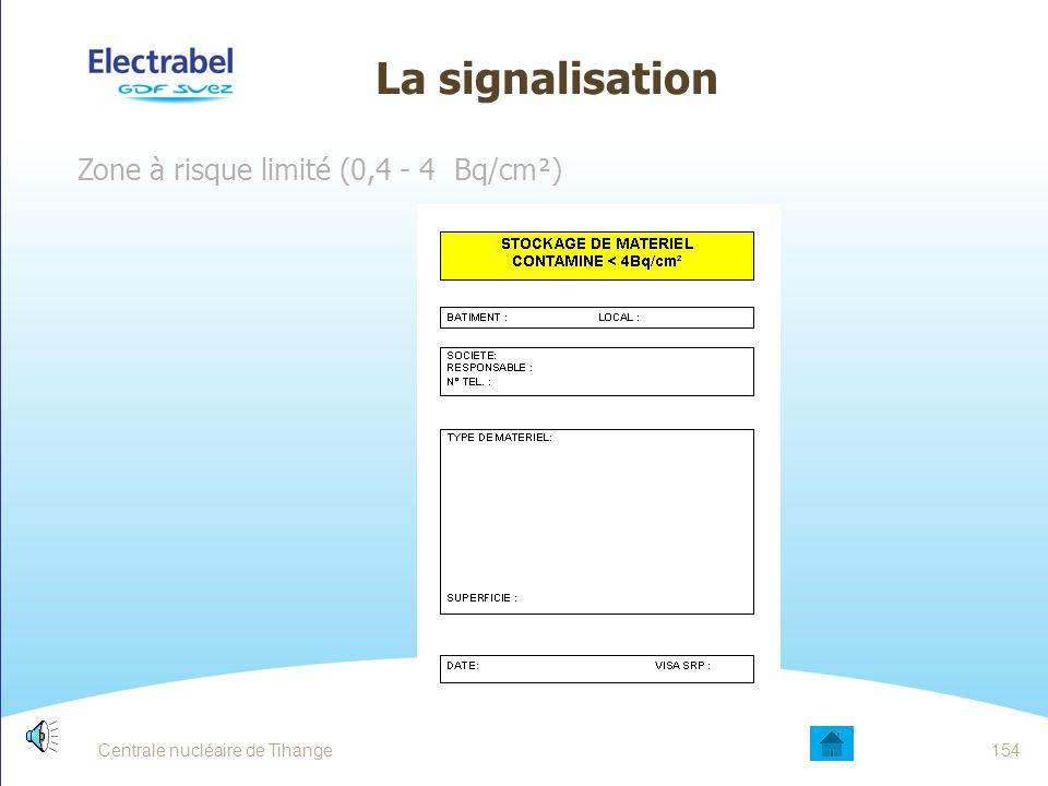 La signalisation Zone de transit ( < 0,4 Bq/cm²) Centrale nucléaire de Tihange153