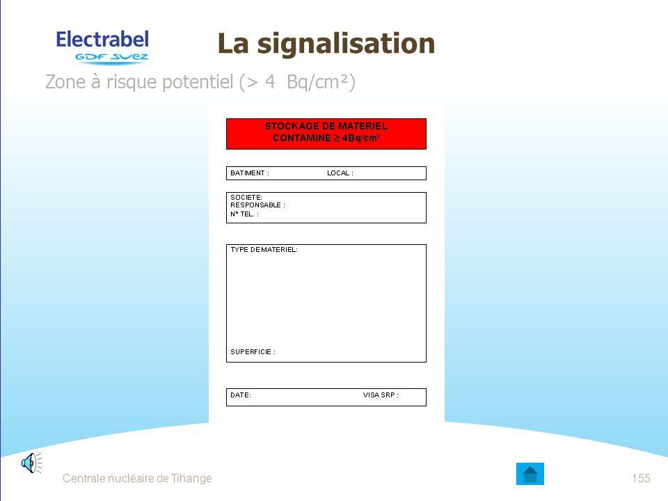 La signalisation Zone à risque limité (0,4 - 4 Bq/cm²) Centrale nucléaire de Tihange154