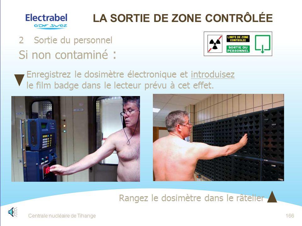 Centrale nucléaire de Tihange165 LA SORTIE DE ZONE CONTRÔLÉE 2. Sortie du personnel Contrôle portique C2 - IPM9 Contrôle de face puis de dos Les petit
