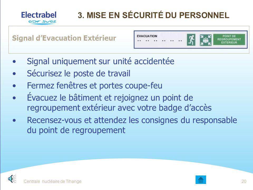 Centrale nucléaire de Tihange19 Accident sur une unité (signal automatique sur tout le site ) Sécurisez le poste de travail Fermez fenêtres et portes