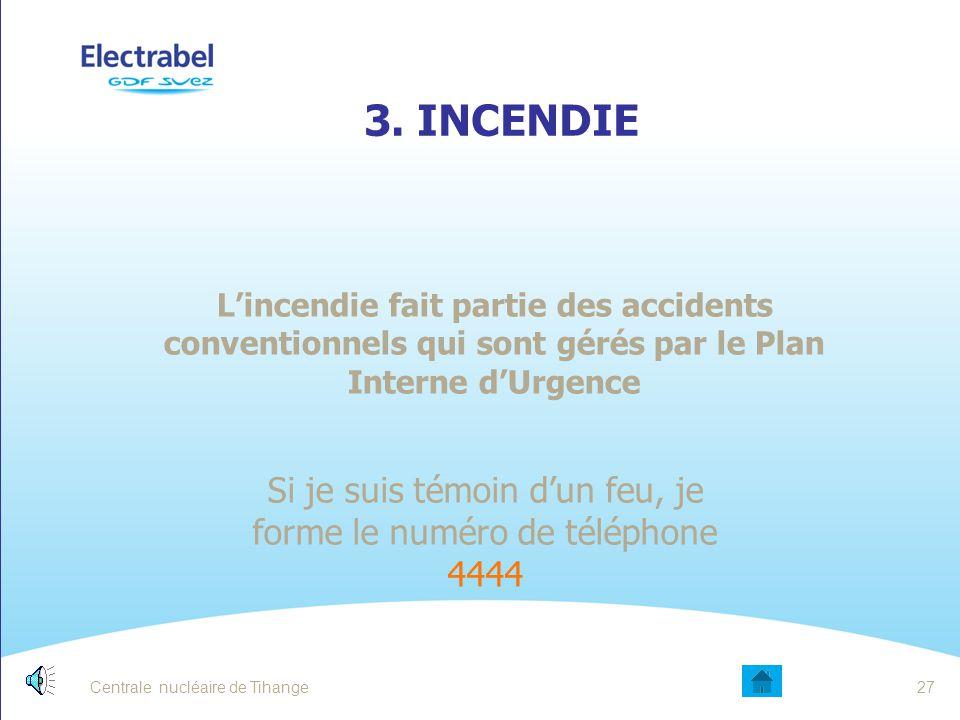 Centrale nucléaire de Tihange26 A RETENIR: Sur le site, pour appeler les secours téléphoner au 4444 Un malaise de personne, nécessite d'appeler immédi