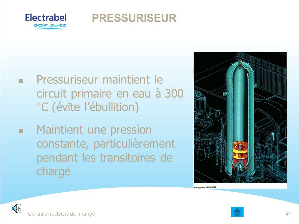 Pompe primaire permet la mise en vitesse du CRP Vaincre les pertes de charges Assure le transfert de chaleur entre le combustible et le générateur de vapeur (GV) POMPE PRIMAIRE 40Centrale nucléaire de Tihange