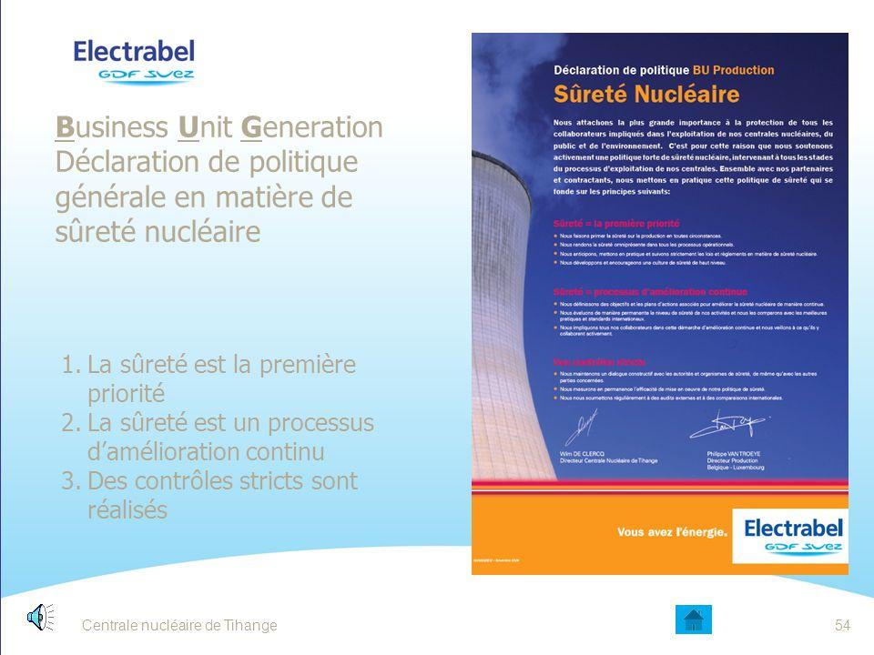 Centrale nucléaire de Tihange53 LA SÛRETÉ NUCLÉAIRE DÉPEND: De la fiabilité des matériels Respect des règles de Sûreté et utilisation du retour d'expé