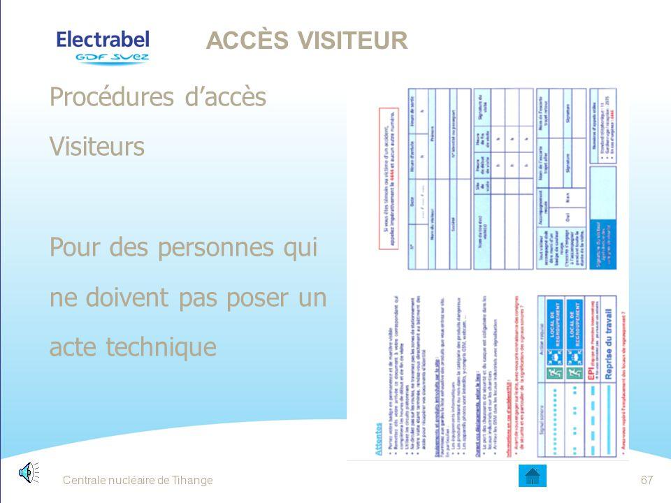 Procédures d'accès Travailleurs  Exigences adaptées en fonction de l'activité ACCÈS TRAVAILLEUR Centrale nucléaire de Tihange66