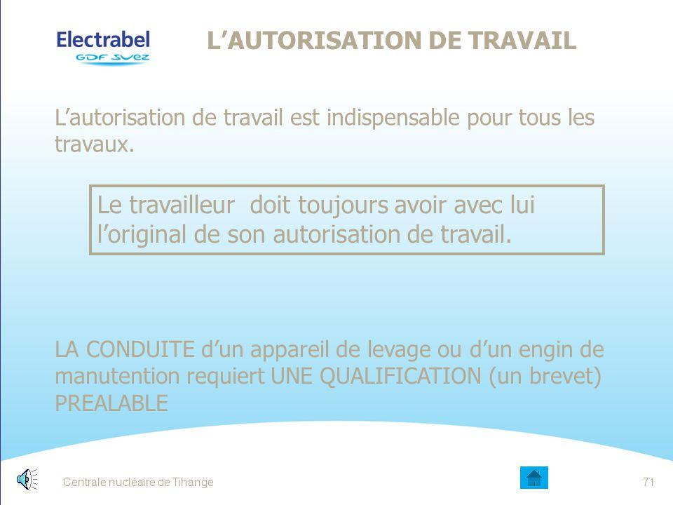 Centrale nucléaire de Tihange70 LÉGISLATION DU TRAVAIL A qui s'applique la législation du travail .