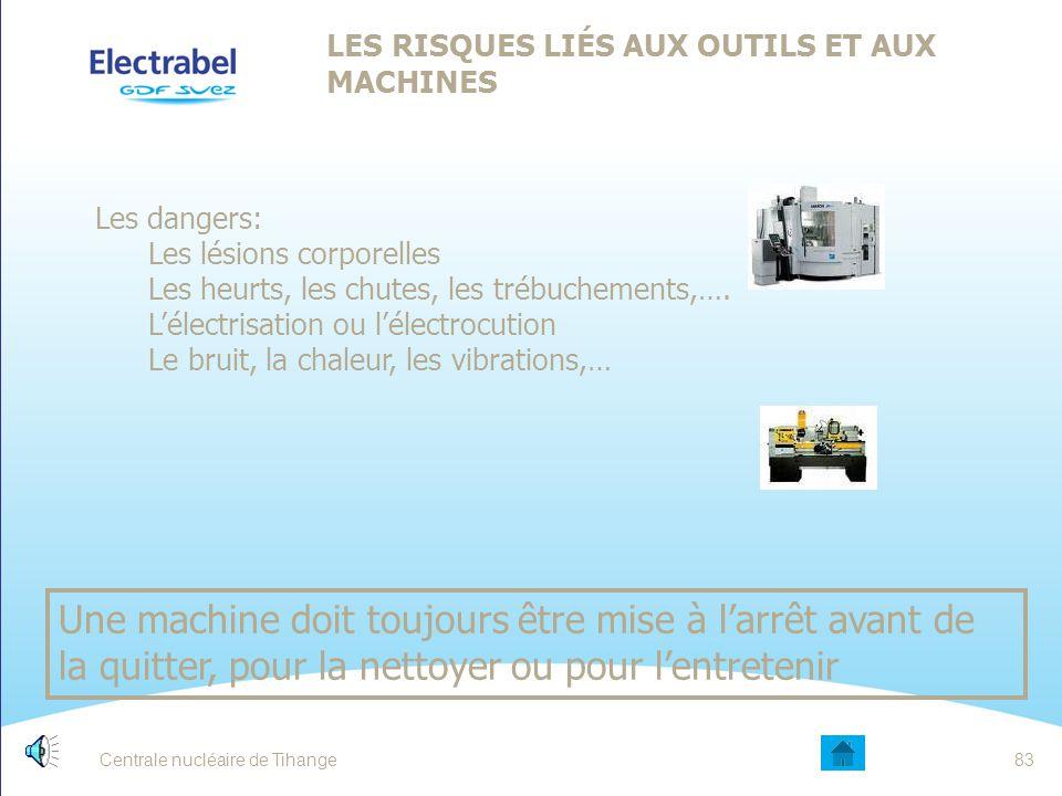Centrale nucléaire de Tihange82 LES RISQUES LIÉS AUX ESPACES CONFINÉS QUELQUES mesures de sécurité : Faire mesurer le taux d'oxygène de l'air (entre 2