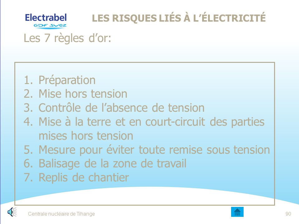 Centrale nucléaire de Tihange89 TRAVAUX ÉLECTRIQUES
