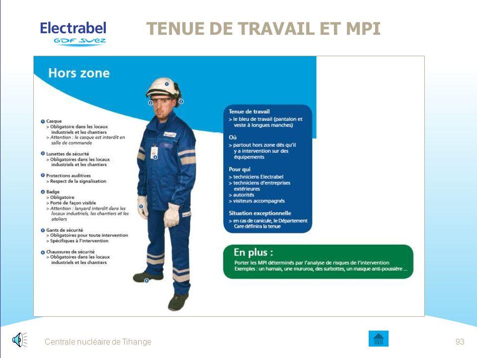 Centrale nucléaire de Tihange92 HARMONISATION DU BALISAGE AU NIVEAU BUG A environ 1 mètre de hauteur ou collé au sol Zone de travail (risques électriq