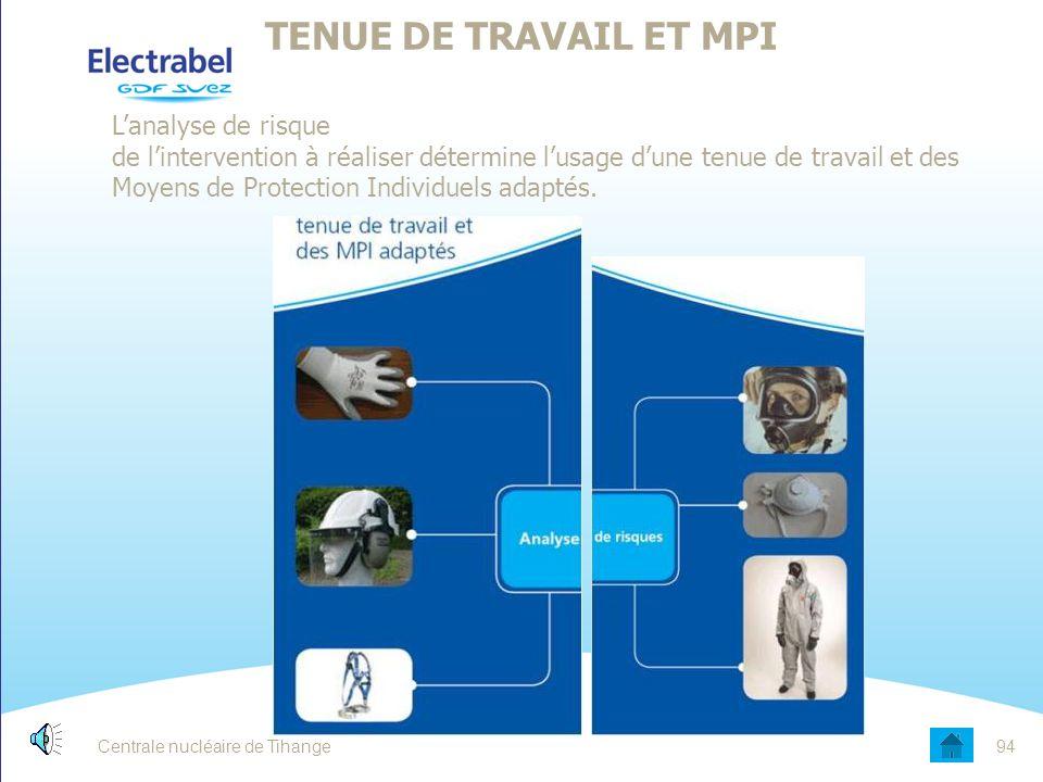 Centrale nucléaire de Tihange93 TENUE DE TRAVAIL ET MPI